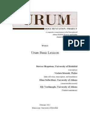 Urum Lexicon Lexicon Translations