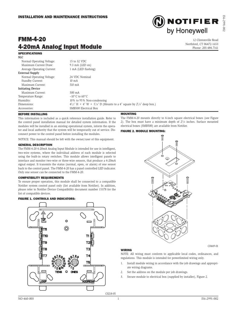 fmm 4 20ma i56 2991 002 manufactured goods electronics rh es scribd com Notifier Frm 1 Spec Sheet Notifier FCM Rel 1