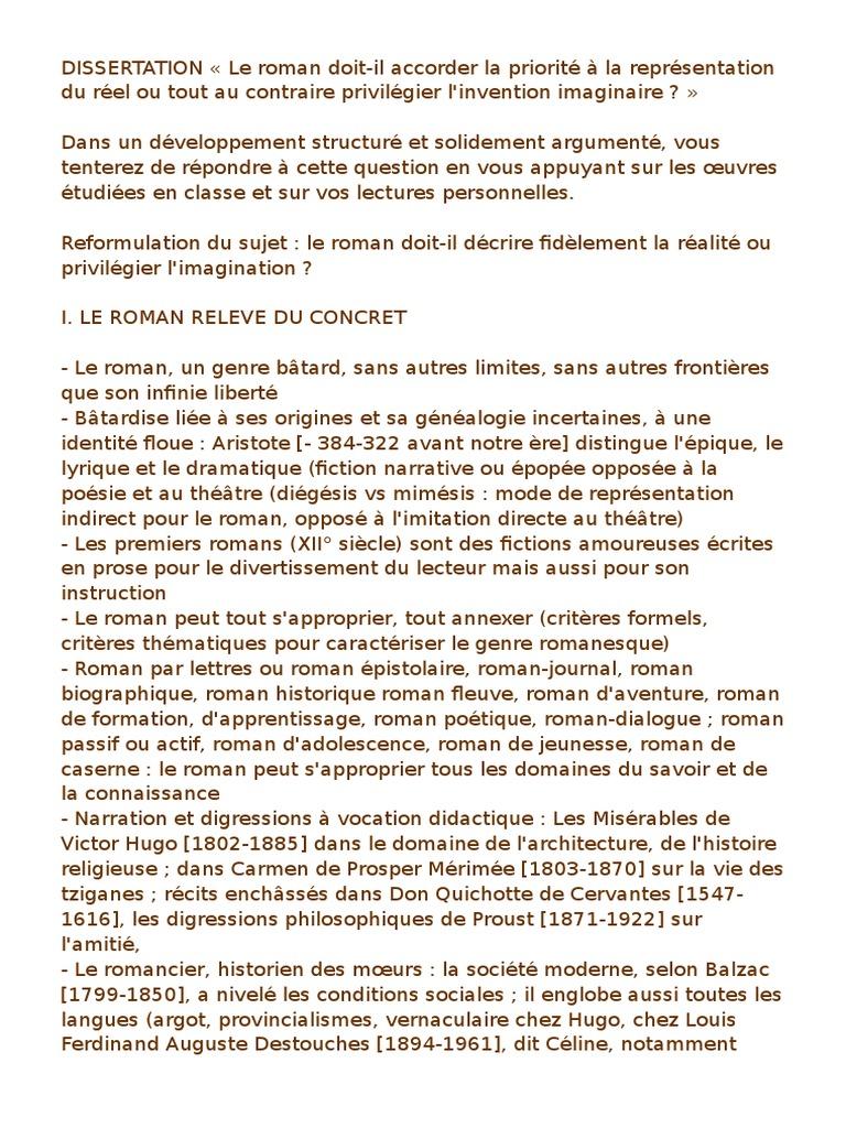 Dissertation Sur Le Roman