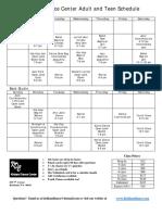 adult teen schedule