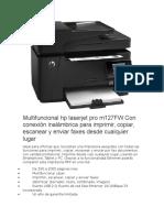 Multifuncional Hp Laserjet Pro m127FW Con Conexión Inalámbrica Para Imprimir