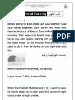 Grade 1 Islamic Studies - Worksheet 6.4 - Etiquettes of Sleeping