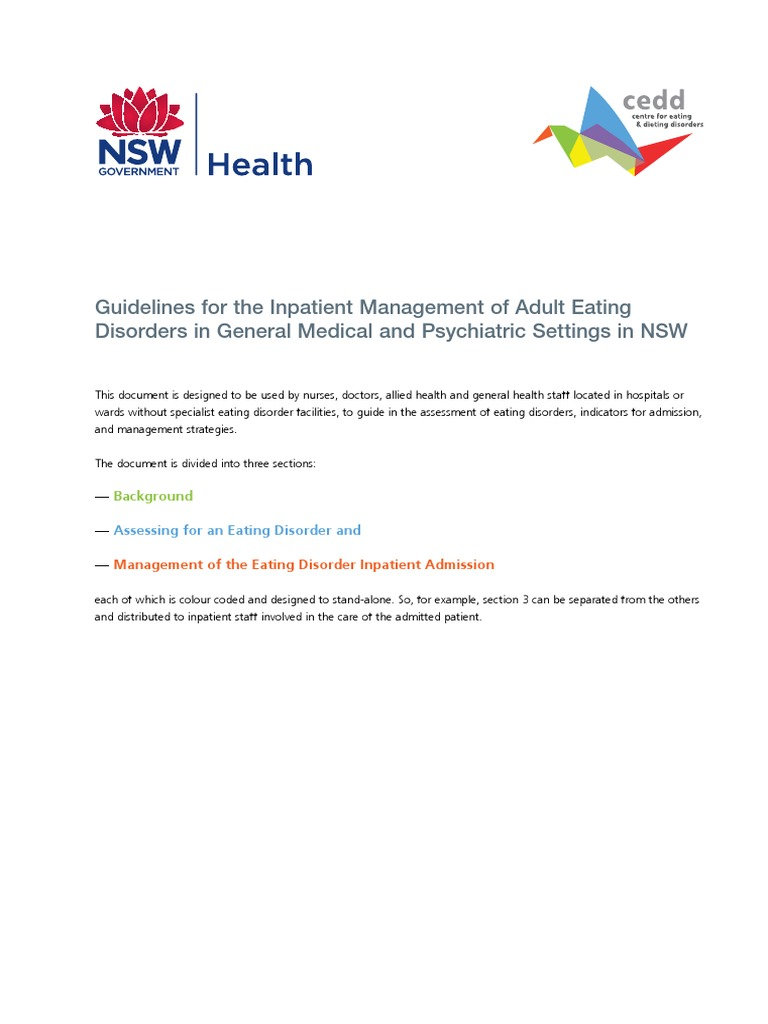 Adult-Inpatient Eating Disorder Guidelines | Psychiatry | Eating Disorder