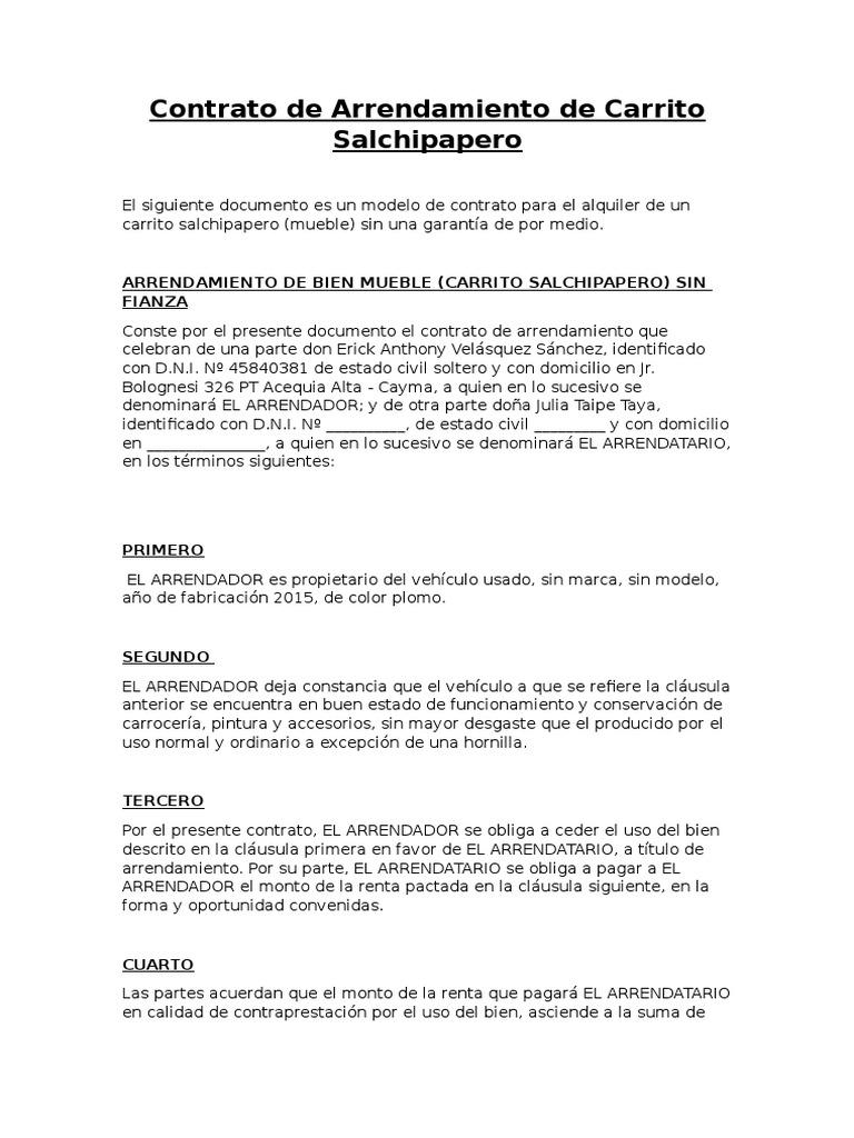 Contrato de Arrendamiento de Carrito Salchipapero