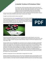 Teknik Menentukan Jumlah Taruhan di Permainan Poker