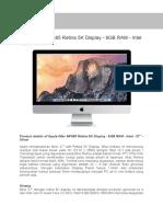 1. Apple IMac MF885 Retina 5K Display - 8GB RAM - Intel - 27 - Ver Lazada