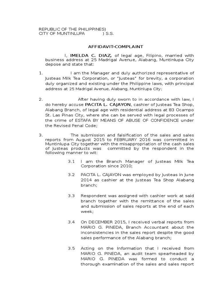 Sample Complaint Affidavit For Estafa Case | Criminal Justice | Crime U0026  Justice  How To Write A Legal Affidavit