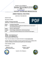JFinEx Minutes of the Meeting