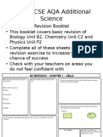 GCSE 2016 AQA Additional Science Revision Sheets