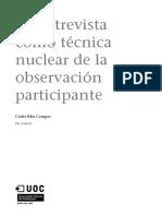 La Entrevista Como Técnica Nuclear de La Observación Participante