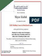 m105 certificate mayar alsabah