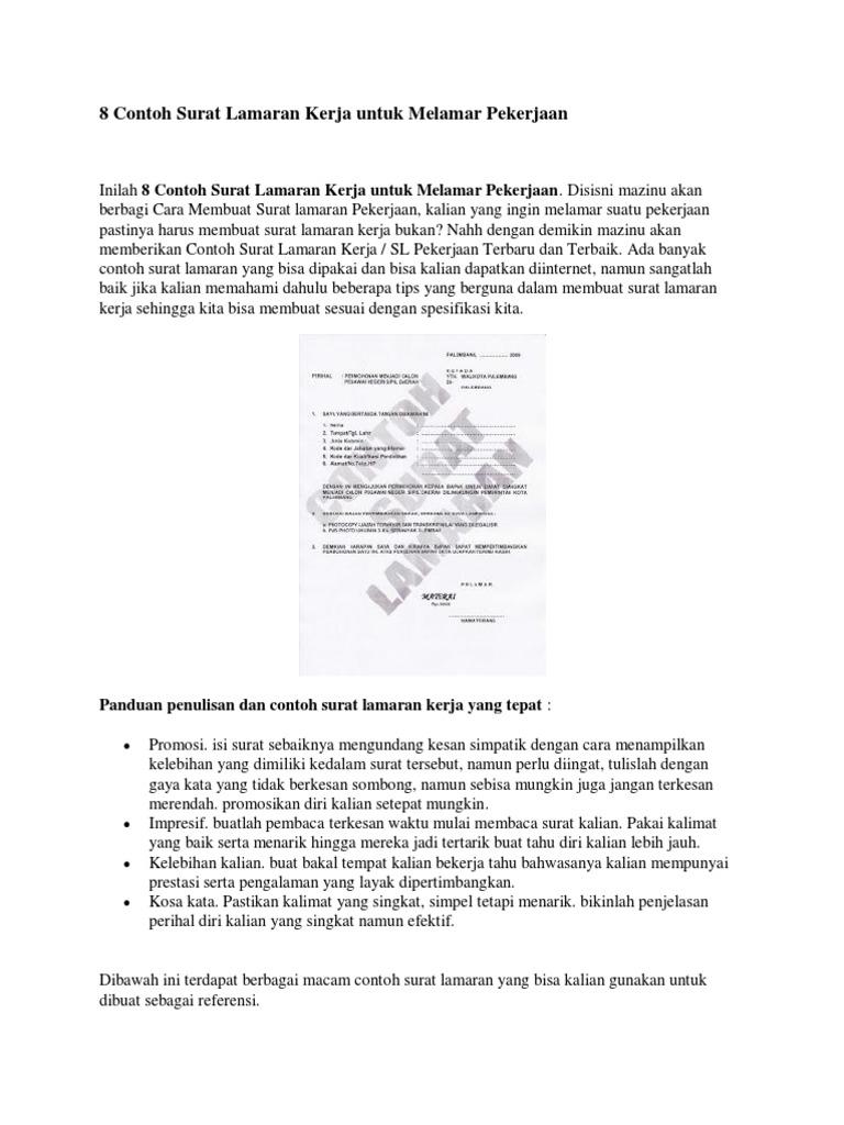 8 Contoh Surat Lamaran Kerja Untuk Melamar Pekerjaan 4