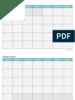 Calendario 2016 Mensual Turquesa