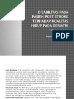 Disabilitas Pada Pasien Post Stroke Terhadap Kualitas Hidup