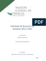 CNE, Informe de Balance de Energía 2012 y 2013