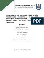 Percepción de Las Actitudes Éticas de Los Profesionales Estadísticos Según Los Estudiantes de La Escuela Profesional de Estadística de La Unprg Ciclo Académico 2015