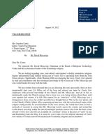 Jeff Riffer Letter Re