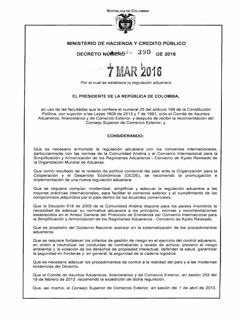Decreto 390 Del 07 de Marzo de 2016 Nuevo Estatuto Aduanero