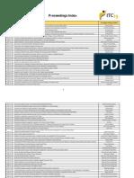 Proceedings Index