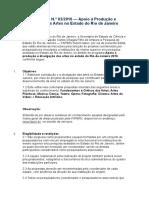 FAPERJ-Apoio à Produção e Divulgação Das Artes No Estado Do RJ