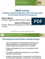 NIEHS Training to address occupational disparities and environmental justice and the benefits derived from this approach by Sharon Beard, Deborah Weinstock