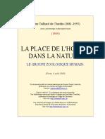 Teilhard de Chardain - Locul Omului in Natura