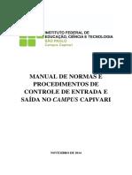 Manual de Normas e Procedimentos de Controle de Entrada e Saida