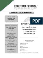 REGISTRO OFICIAL Ley Orgánica de Tierras Rurales y Territorios Ancestrales
