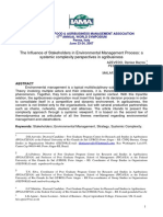 Artigo 1 - The Influence of Stakeholders in Environmental Managment Process a systemic complexity perspectives in agribusiness.pdf