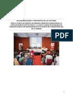 RECOMENDACIONES Y PROPUESTAS DE LAS VÍCTIMAS PARA LA PUESTA EN MARCHA DE MEDIDAS URGENTES HUMANITARIAS EL FORTALECIMIENTO INSTITUCIONAL