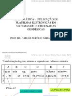 Geodesia Aula02 - Pratica de Excel