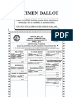 Specimen Ballot for the Hamilton Annual Town Election