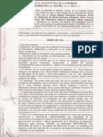 Acta Constitutiva de Sociedad Cooperativa de Responsabilidad Limitada