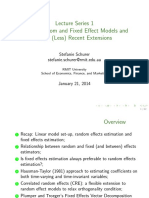 Lecture Series 1 Linear Random and Fixed Effect Models and Their (Less) Recent Extensions