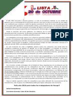 Mensaje_ Corriente Gremial_Lista 20 de Octubre