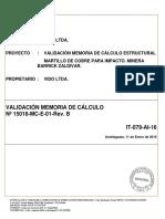 Certificado de Validacion Martillo de Cobre Para Impacto Nº 15018-Mc-e-01-Rev. b