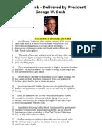 bush 9-11 speech -answer key