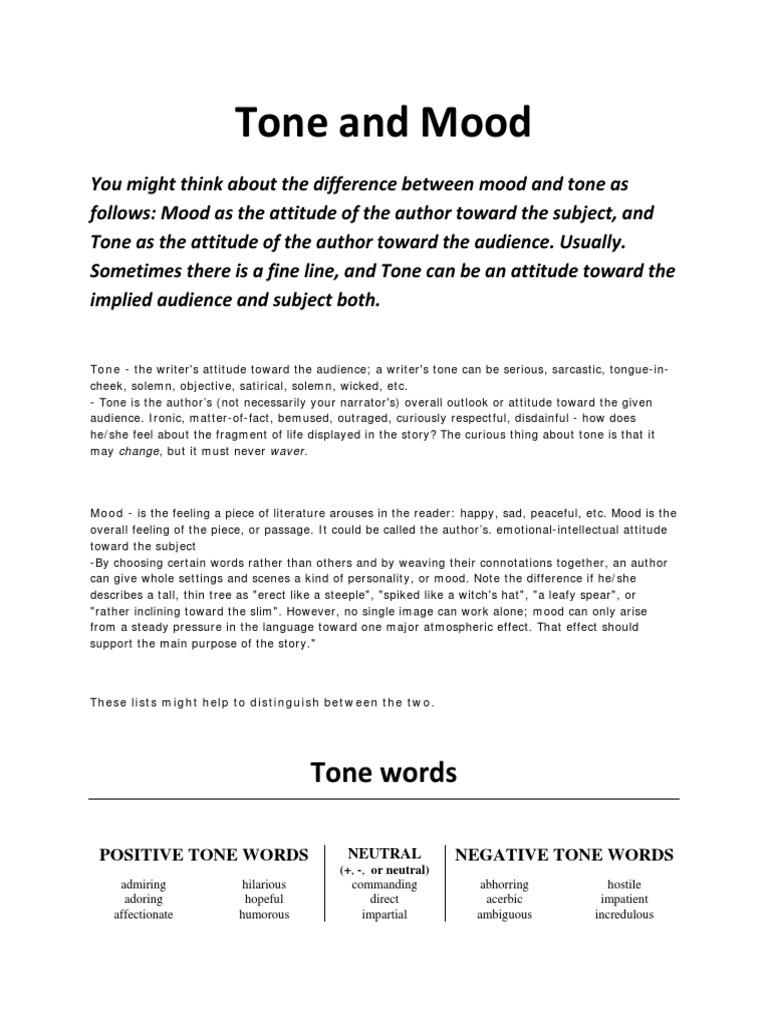 tone and mood words unedited | Fiction & Literature