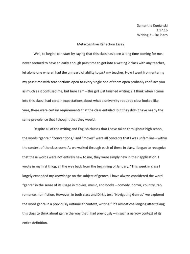 Reflection Essay Final  Genre  Essays