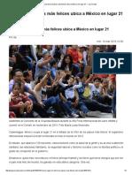 Lista de Los Países Más Felices Ubica a México en Lugar 21 — La Jornada