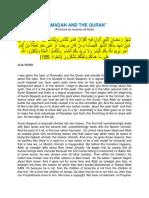 Ramadhan and Quran