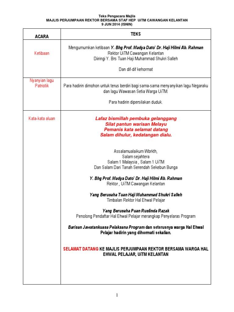 Teks Pengacara Majlis Rektor With Staf h