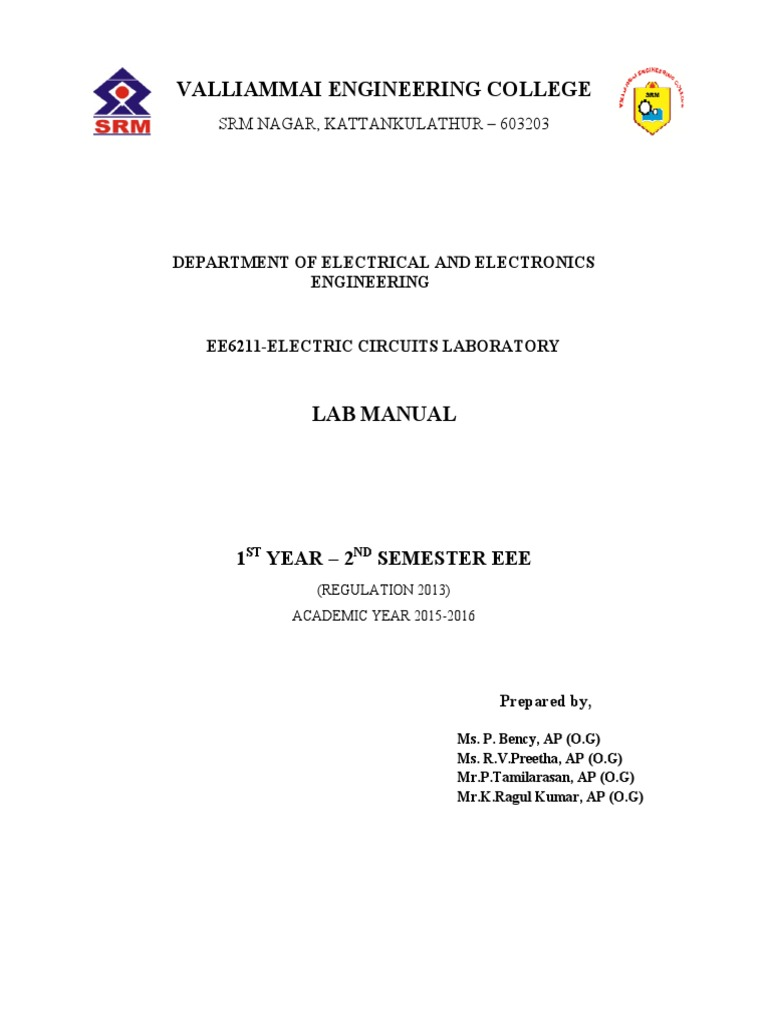 EE6211-Electric Circuits Laboratory MANUAL | Vacuum Tube | Series And  Parallel Circuits