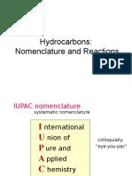 Hydrocarbons Reaction Nomenclature