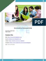 Econometrics Homework Help