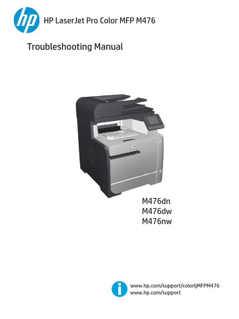 HP LaserJet Pro Color MFP M476 Troubleshooting Manual | Fax | Image Scanner