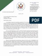 Letter to Secretary Clinton - April 26, 2010