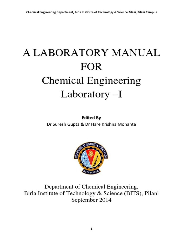 Lab manual for various experiments in chemical engineering   Reynolds  Number   Drag (Physics)