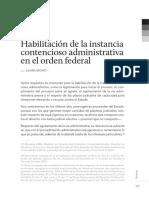Habilitación de La Instancia Contencioso Administrativa en El Orden Federal