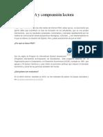 Informe PISA y Comprensión Lectora